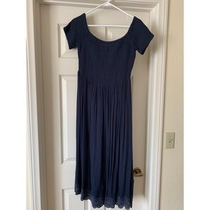 Roxy Navy Blue Off the Shoulder Midi Dress